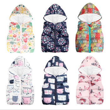 2019 New Baby Sleeveless Hooded Wool Vest Jacket for Girls Boys Cartoon Print Tops Coat Kids Warm Cotton Vest Outwear Clothes цена 2017