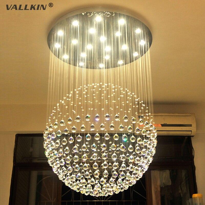 Modern 60 70 90cm Crystal Led Chandeliers Ceiling Lights: Modern K9 Large LED SphericLiving Room Crystal Chandeliers
