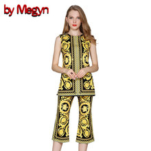 by Megyn woman summer set suits high quality runway sleeveless print casual top and Knee Length pants 2 piece outfits for women(China)