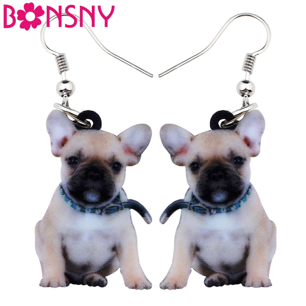 Bonsny Acrylic Cute Sitting Belt French Bulldog Dog Earrings Big Long Dangle Drop Women Girls Ladies Fashion Anime Jewelry Bulk(China)