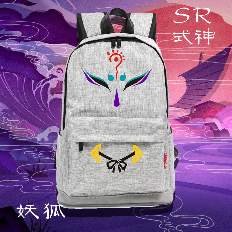 Top game Onmyoji cos Demon fox Fox face Printed canvas bag Two dimensions Japanese Korean version Backpacks schoolbagTop game Onmyoji cos Demon fox Fox face Printed canvas bag Two dimensions Japanese Korean version Backpacks schoolbag
