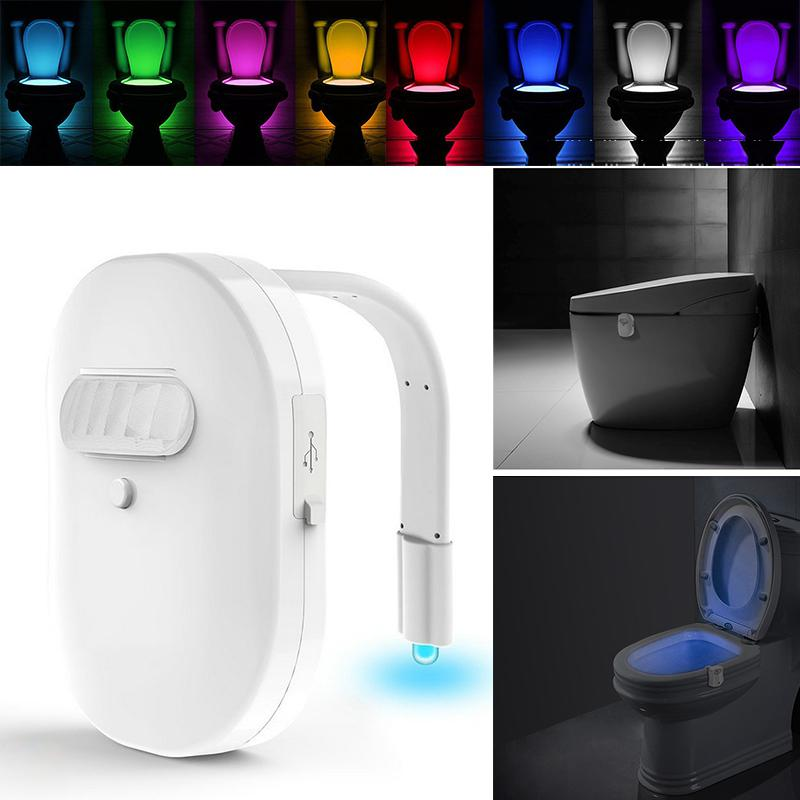 MeterMall 12 Colors Smart Bathroom Toilet Light LED Body Motion Activated On/Off Seat Sensor Lamp 8 Color PIR Toilet Lamp