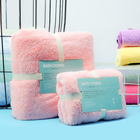 2pc Set Microfibre Towel Super Absorbent Travel Plush Cheap Bath Towel Quick Dry Beach Towels