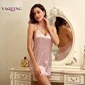Новая Мода V-образным Вырезом сексуальное нижнее белье лето сексуальная искусственного шелковой Ночной Рубашке женщины принцесса спагетти ремень кружева шелковые подтяжки Белье