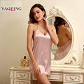 New Fashion V-Neck sexy underwear summer sexy faux silk Nightgown women princess spaghetti strap lace silk suspenders Lingerie