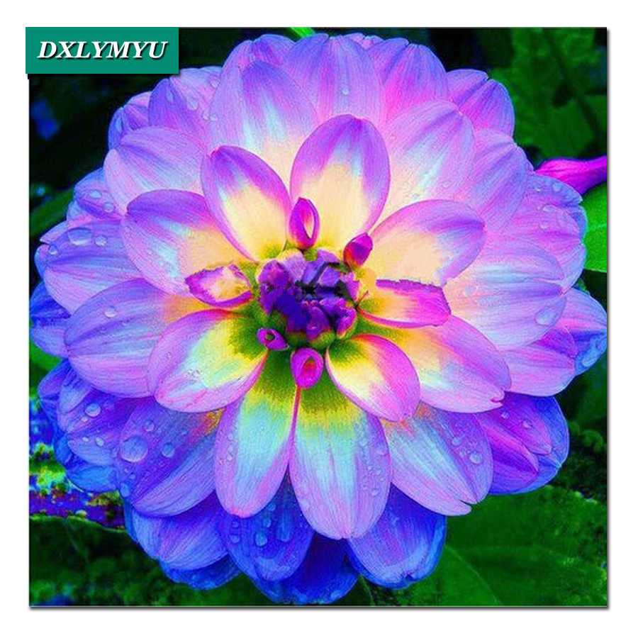 Diamond Mosaic Embroidery Shiny Dahlia Flower Picture Of