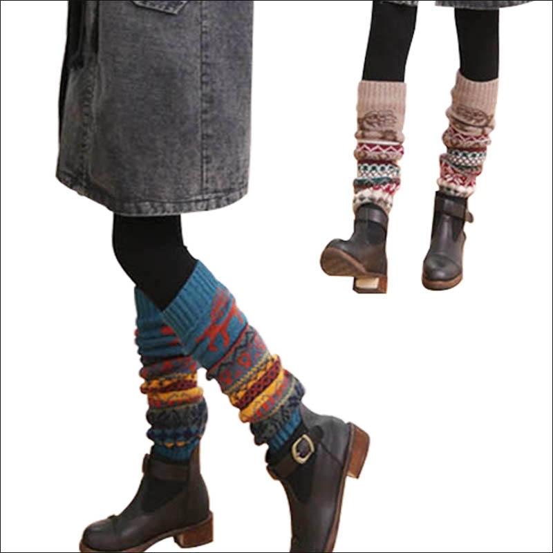 New Winter Thermal Cashmere Stockings Women Knee Socks Wool Colorful Women's Knitted Socks Thicken Girl Warm Socks