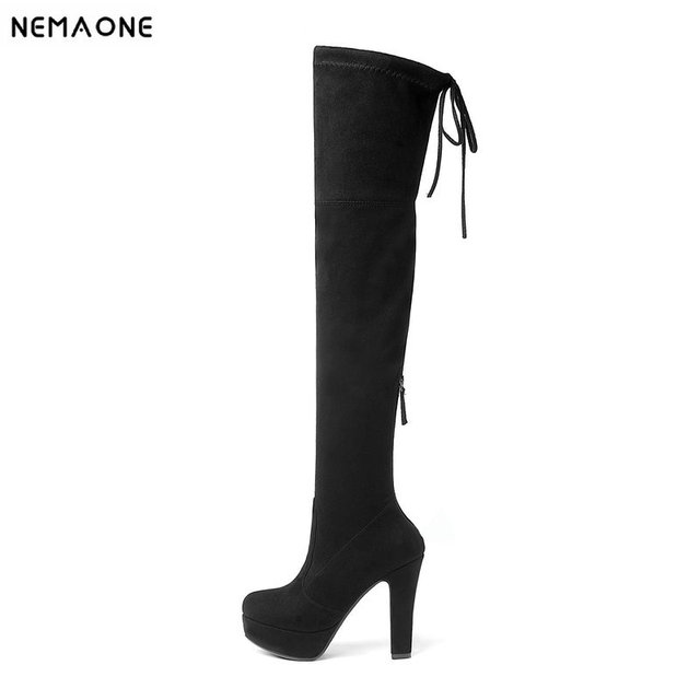 NEMAONE 2019 New Women Boots Sexy Over the Knee Boots lace up Thin Square Heel Boot Platform Woman Shoes Black size 34-43