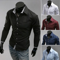 2015 men's fashion solid color shirt Autumn Spring male long-sleeved Casual Shirts turn down collar slim fit 5 color size M~3XL