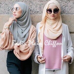 Image 3 - Una pieza de alta calidad caliente mujer musulmana plano liso chifón hijabs georgette larga bufanda chales sombrero islámico chales bufandas