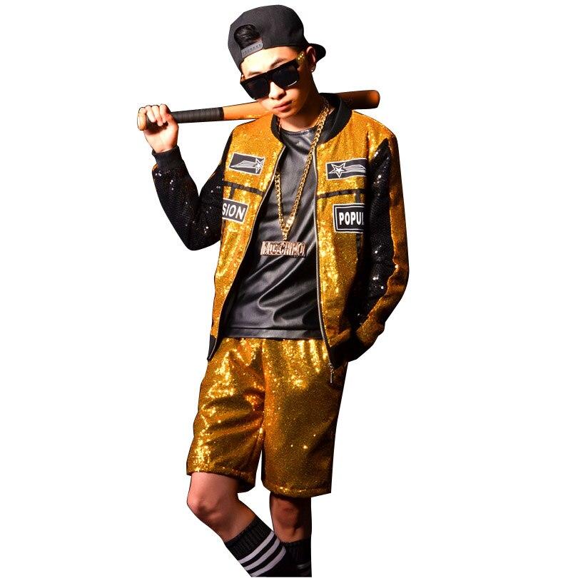 Fait sur commande D'or Paillettes D'épissure Hommes Veste Hommes Rue Hip-Hop Mode Manteau De Baseball Accessoires Spectacle Costumes