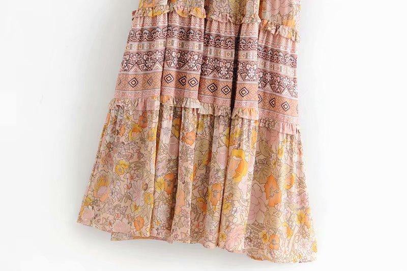 V-Neck Sasches Ruffles Floral Print Boho Dress 4