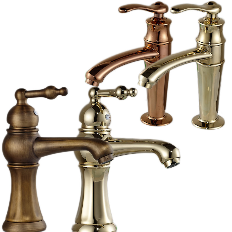 ФОТО Antique Brass & golden Short Basin Sink Faucet Deck Mounted with Hot and Cold Water Mixer Taps 4-styles