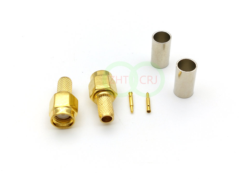 200 pcs gold plated SMA male crimp connector to RG58 LMR195