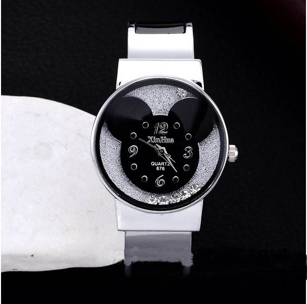 New Fashion Mickey Bracelet Watches Women dress Analog Girl Cute rolling Rhinestone wristwatches 2015 Ladies Casual Quartz watch free shipping kezzi women s ladies watch k840 quartz analog ceramic dress wristwatches gifts bracelet casual waterproof relogio