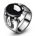 2016 Top Quality Punk Real Stainless Steel Ring Men's Big Black Stones Finger Rings for Man Gothic Casting Ring