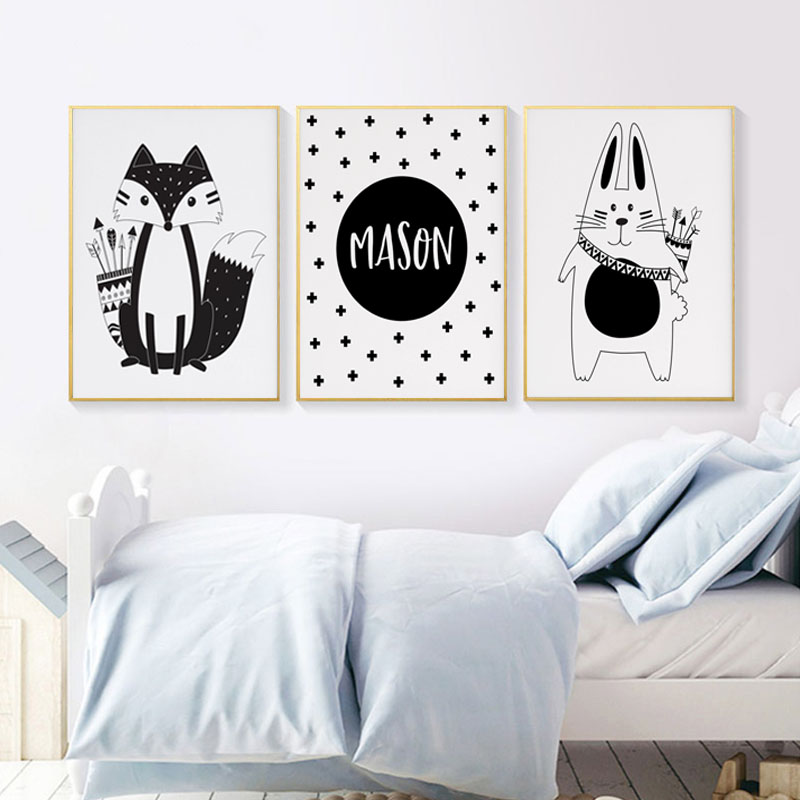Baby Nursery Wall Art Canvas Painting Tribal Fox Rabbit Cartoon Animal Print Nordic Posters Custom Personal Name Kids Room Decor in Painting Calligraphy from Home Garden