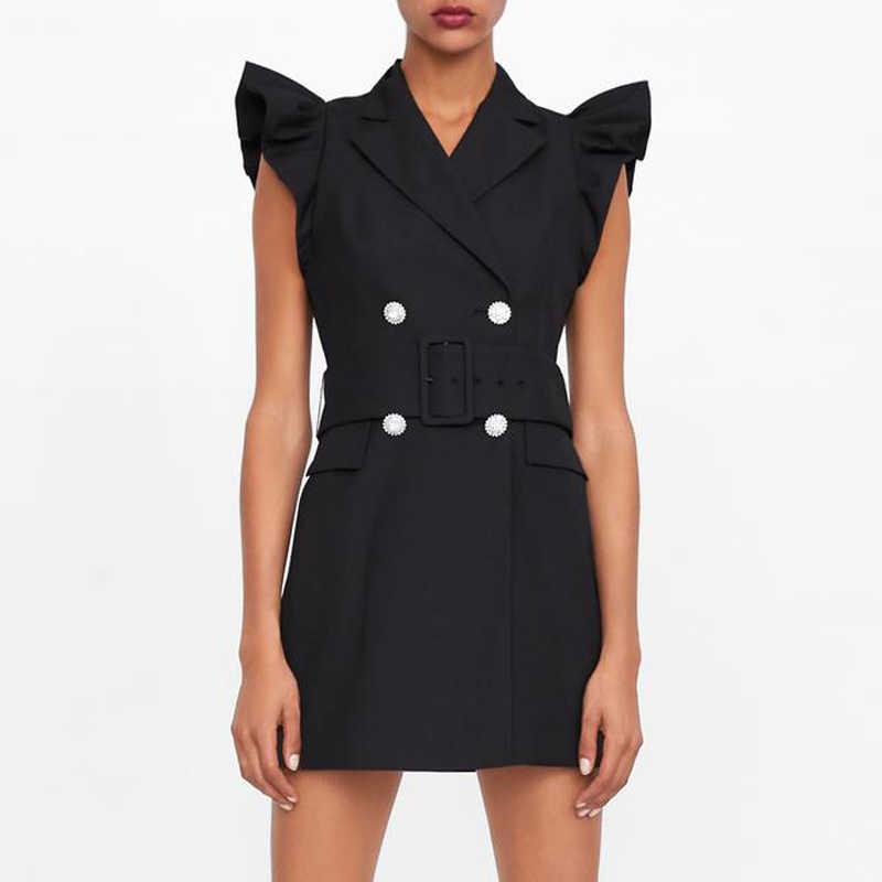 RR Ruffles без рукавов, сексуальные мини платья, женское модное платье с воротником, женское элегантное двубортное мини-платье, женское платье
