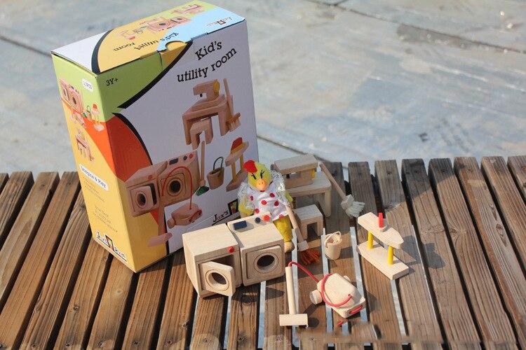 ₪Niños Casa de muñeca casa juguetes para bebés madera lavadero ...