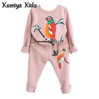 Kseniya Kids 2017 New Winter Spring Girls Boys Children Clothing Sets Cartoon Bird Print Sweatshirts Pants