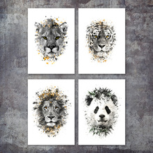 Leopard Panda Lion Tiger Watercolor Nordic Posters And Prints Wall Art Canvas Painting Decoration Pictures For Living Room Decor