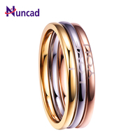 Nuncad Classic 3PCS colorful silver/gold/rose gold tungsten carbide engaged ring jewelry lettering I Love You T092R