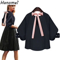 New Bow Tie Women Blouses 3/4 Sleeve Chemise Femme 2017 Summer Tops Loose Womens Shirt Plain Black White Blusas Feminino C379