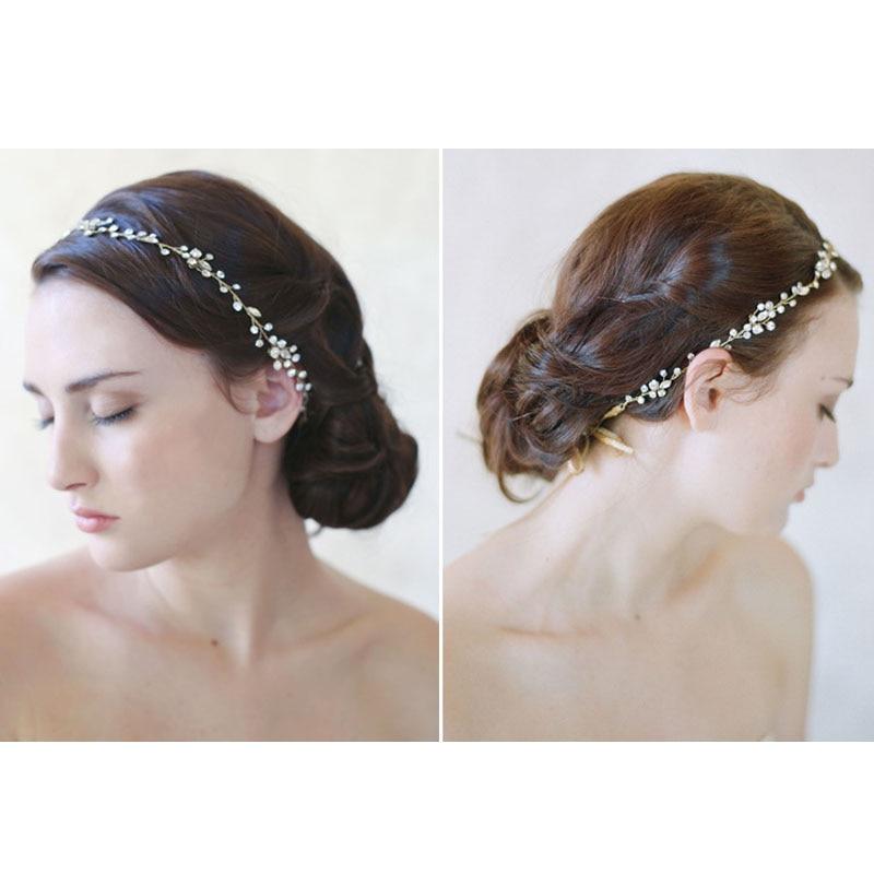 32f2cab9b46 Handmade Hair Accessories For Bride Delicate Crystal Rhinestone Plant  Headbands Metal Tiaras Women ...