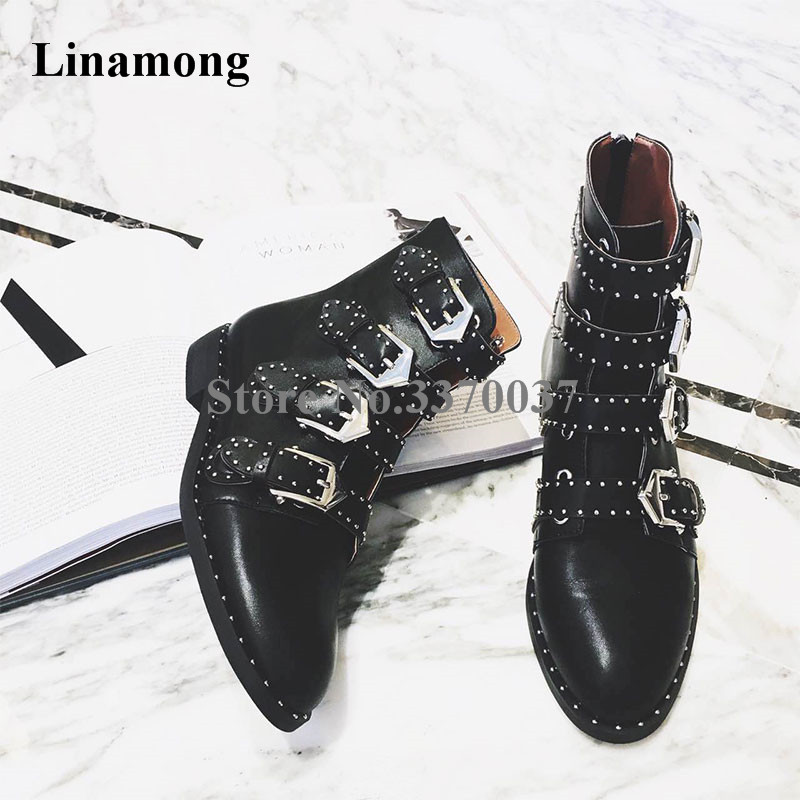 New Fashion Women Black PU Leather Buckle Design Low Heel Ankle Boots Round Toe Spike Design Short Flat Boots casual metal and flat heel design short boots for women