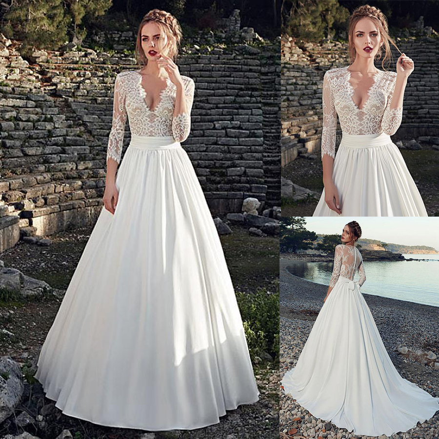 Attractive Deep V-neck Neckline See-through A-Line Wedding Dress With Nude Lace Appliques Three Quarter Sleeves Bridal Dress