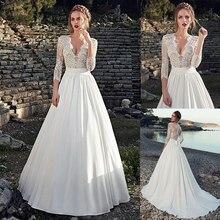 Çekici derin v yaka boyun çizgisi See through A Line düğün elbisesi çıplak dantel aplikler üç çeyrek kollu gelin elbise