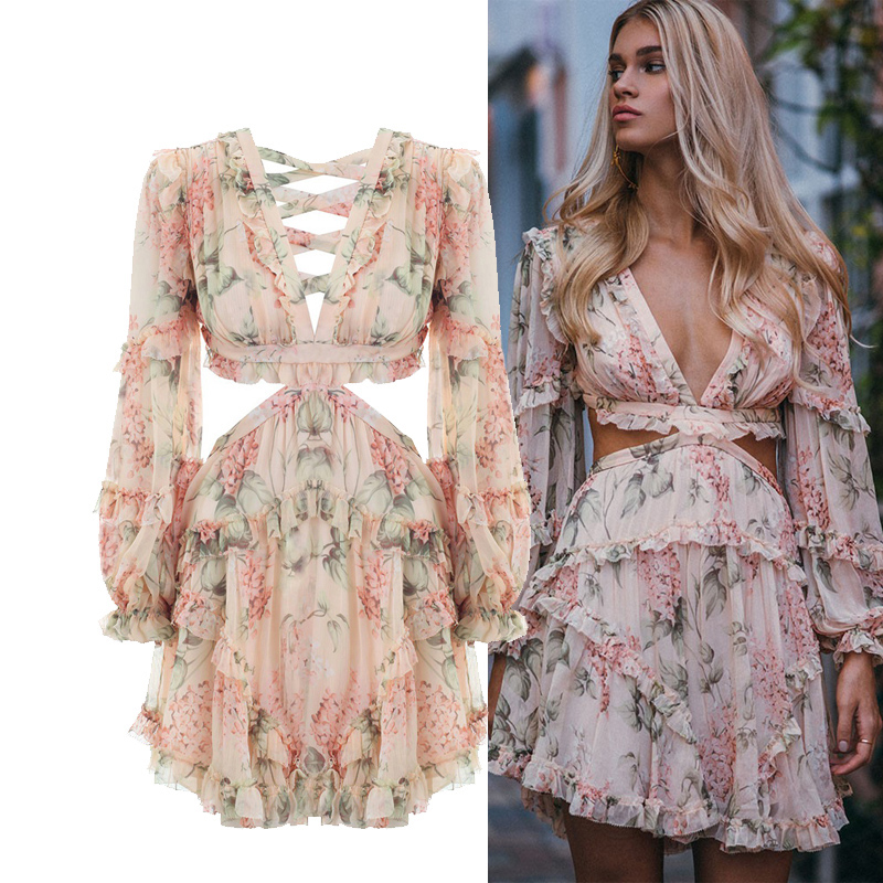 Fannic  Fashion Pink Designer Runway Dress Women's Hollow Out Ruffles Floral Print Chiffon Mini Dress Sexy Backless Deep V Neck