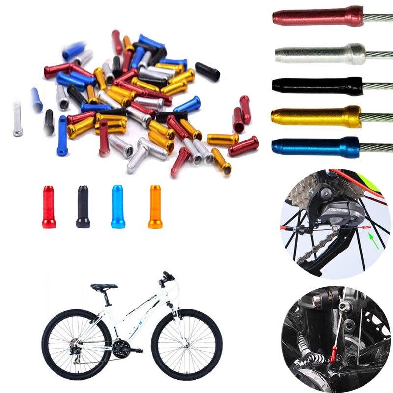 50PCS Bicycle MTB Shift Brake Wire End Core Cap Cable Aluminum Cover Gear Bikes Thread Wire Cap Shift Line Cap Parts Accessories