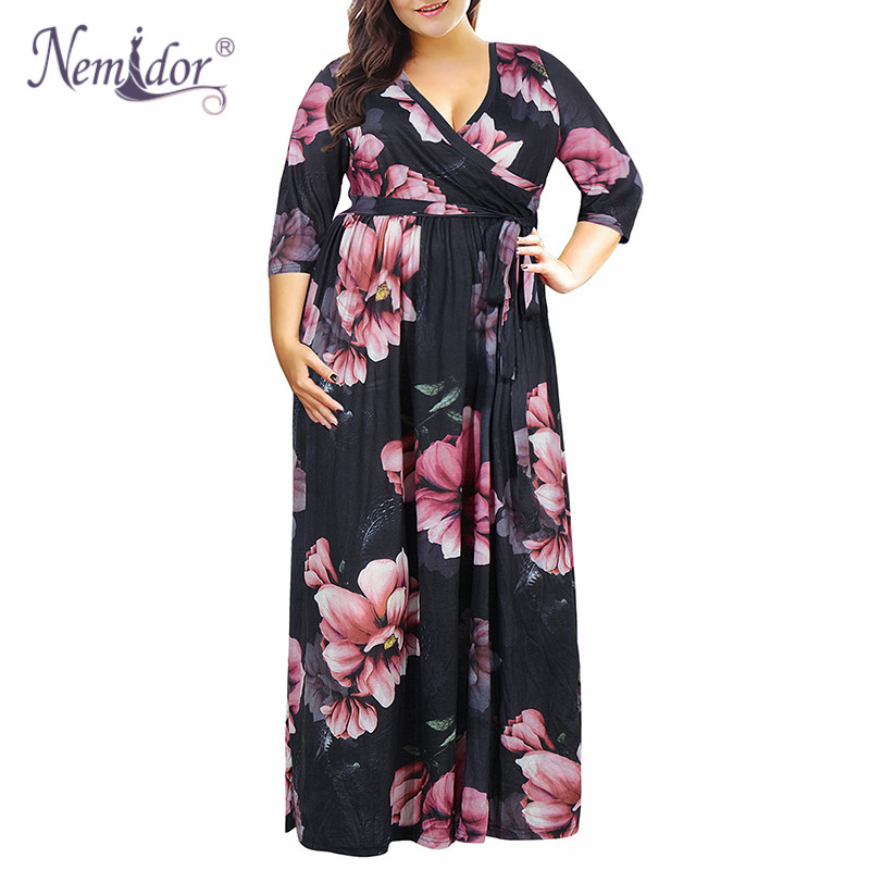 Nemidor 2019 Women Elegant V-neck Short Sleeve Vintage 50s Casual Dress Plus Size 7XL 8XL 9XL Floral Print Party Long Maxi Dress