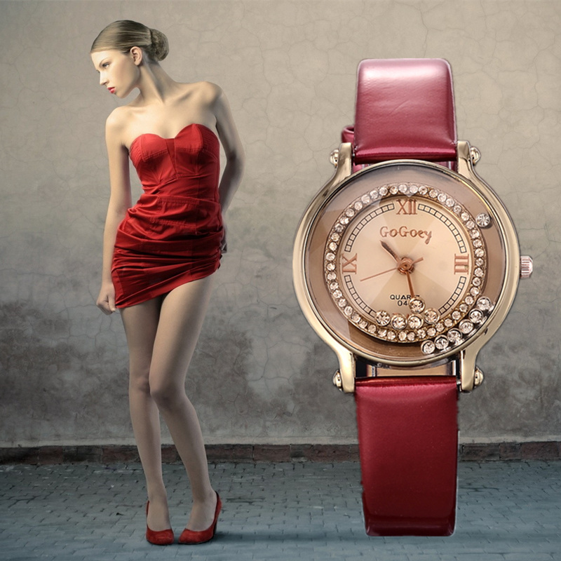 Fashion women ladies new style watch Korean Nice watch Run imitation Diamond Leather belt watch.Free shipping rhinestone relojes
