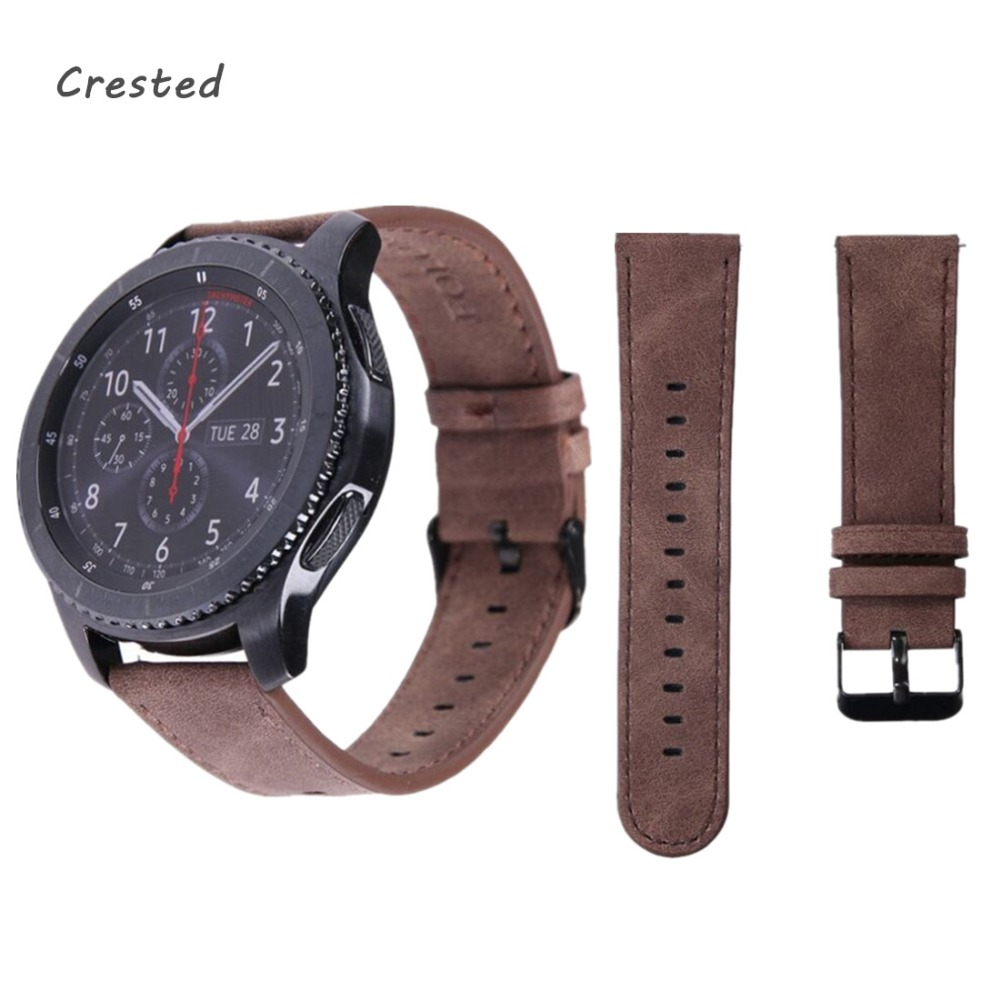 EIMO Genuine Leather watch band strap for Samsung Gear S3 Frontier/Classic band bracelet smart watch wrist belt Retro style crested genuine leather strap for samsung gear s3 watch band wrist bracelet leather watchband metal buck belt
