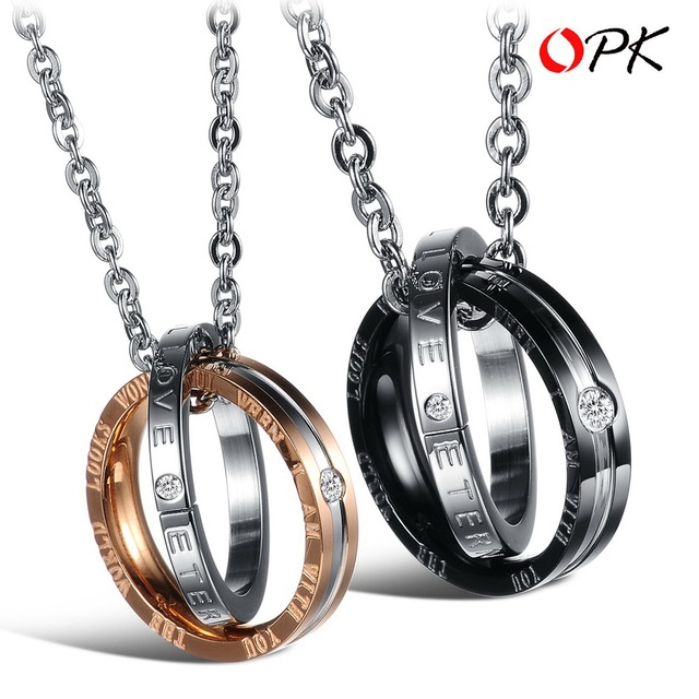 OPK JEWELRY Free Shipping Romantic StyleTitanium Steel Couple Necklace,  Pendent  Necklace, Engrave Love Words 831