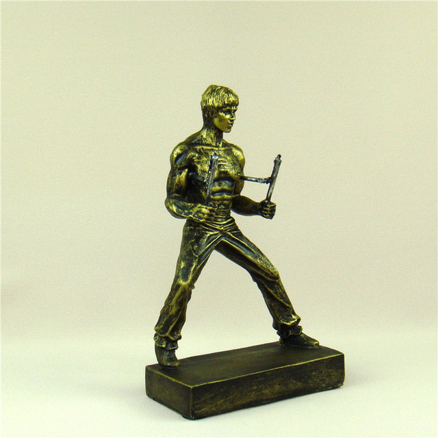 Bruce Lee Miniature Chinese Kung Fu Figure Kicking Sculpture Nunchaku Ornament Movie Star Souvenir Present Craft Art Collection 6