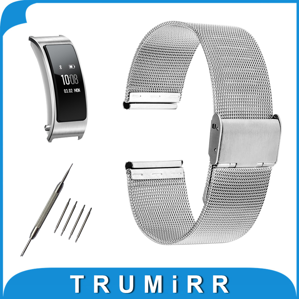 16mm Milanese Watchband for Huawei Talkband B3 Women's Mesh Stainless Steel Watch Band Strap Wrist Bracelet + Spring Bar + Tool 22mm milanese watchband for vector luna meridian smart watch band mesh stainless steel strap wrist bracelet tool spring bars