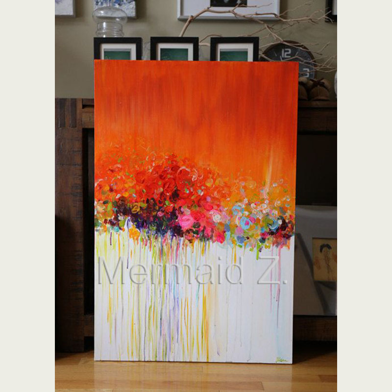 Abstract Flower Acrylic Painting On Textured Canvas