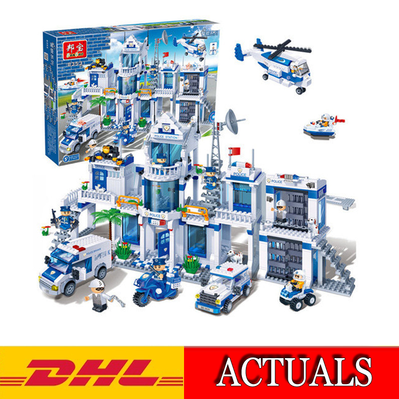 2018 New 8353 1285Pcs City Series Extra Large Police Station Model Building Kits Blocks Bricks Compatible Children Toys Gift kazi 6726 police station building blocks helicopter boat model bricks toys compatible famous brand brinquedos birthday gift