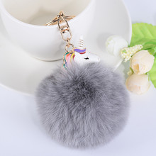 Здесь можно купить  Cute Fur Keychain Pom Pom Keychain Fluffy Unicorn Keychain Metal Simple Bag Charm Car Pendant Key Ring Holder Jewelry Chaveiro