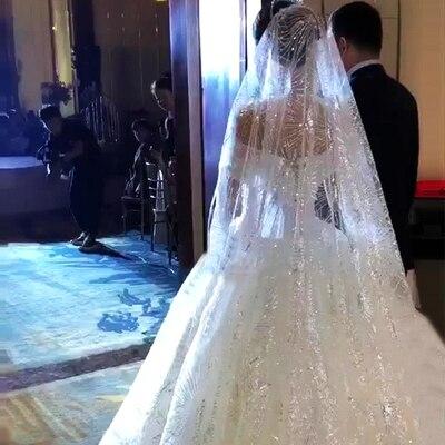 3.5 mètres bord complet avec dentelle Bling paillettes une couche longue voile de mariage avec peigne blanc ivoire voile de mariée 2019