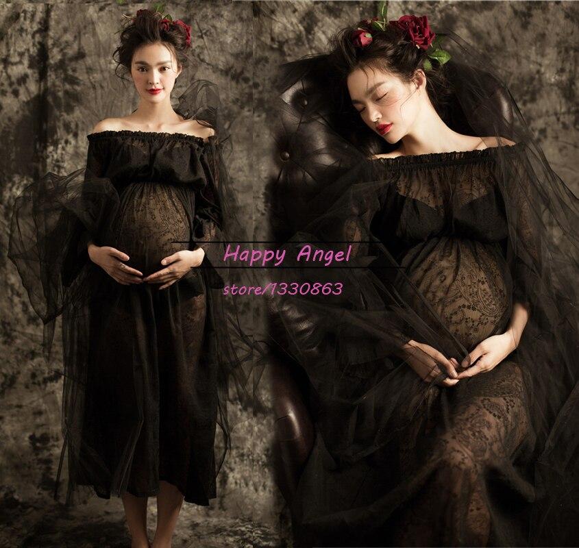 Սև անպիտան մայրություն երկար ժանյակավոր զգեստ Ռոմանտիկ հղի լուսանկարչական պրոցեսներ Fancy Photo Shoot Baby Shower Elegant Costume