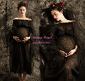Black Shoulderless Maternity Long Lace Dress Romantic Pregnant Photography Props Fancy Photo Shoot Baby Shower Elegant Costume