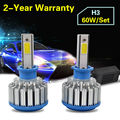 Taitian LED Headlight Bulbs Kit - H3 - 60w 6,000Lm 6K Cool White - For Fog DRL Replace Light Source Driving Bulbs