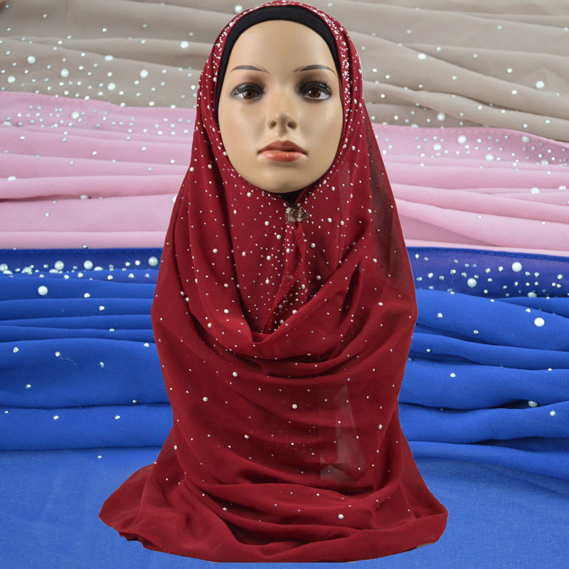 Women Plain Bubble Chiffon Scarf With Diamond Stud and Pearl Fashion Solid Color Muslim Hijabs Shawls