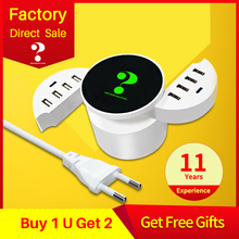 Multi Port USB Charger Type C fast charger Smart LED logo Wall Travel Power HUB Adapter Socket for iphone ipad Samsung,Xiaomi LG