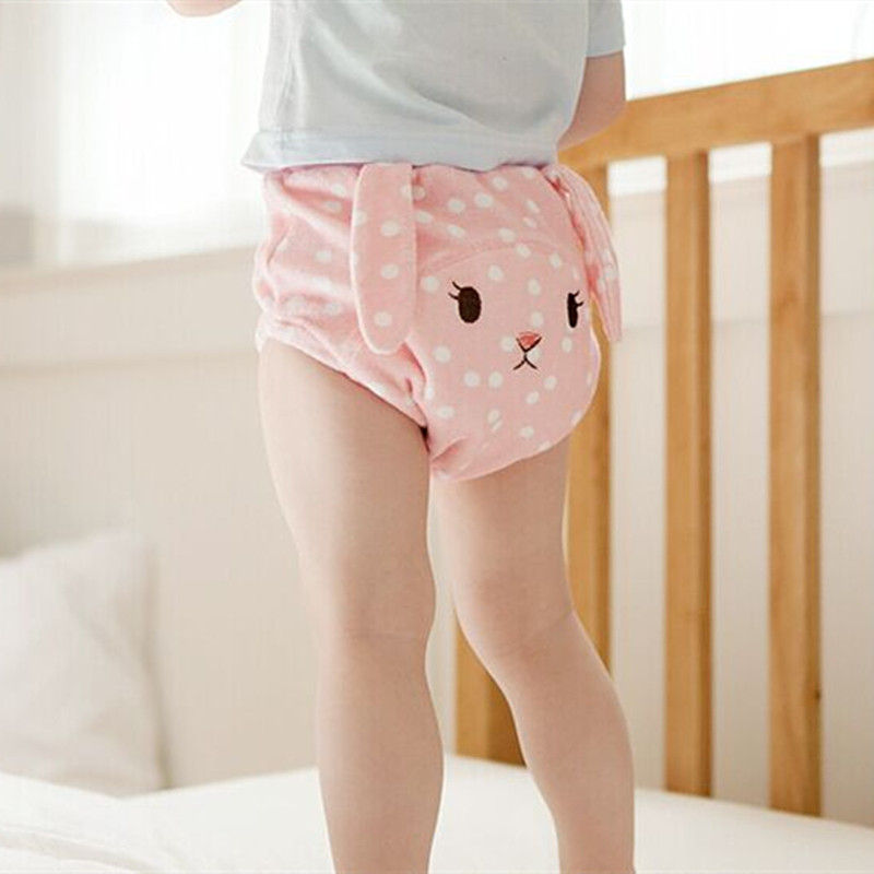 Reusable Diaper Cute Baby Cotton Training Pants Bamboo Velour Fitted Diaper Washable Cloth Nappies Elastic Waist Couche Lavable