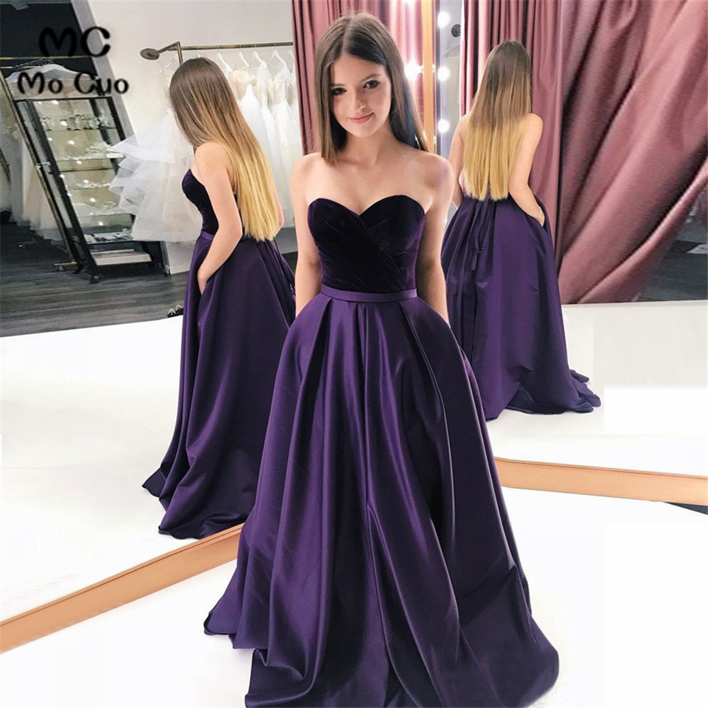 Elegant 2019   Evening     Dresses   Long with Pockets Sweetheart Sweep Train Satin Formal   Evening   Party   Dress   for Women Custom Made